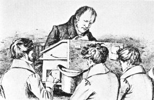 Hegel with students - lithograph